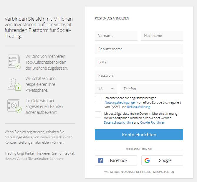 eToro Registrierung