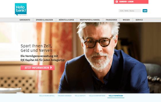 Homepage der Hello Bank