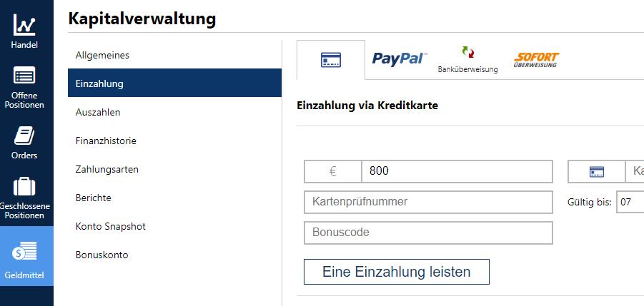 Einzahlungsmöglichkeiten bei Plus500