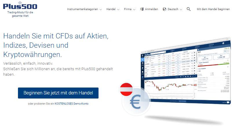 Homepage von Plus500