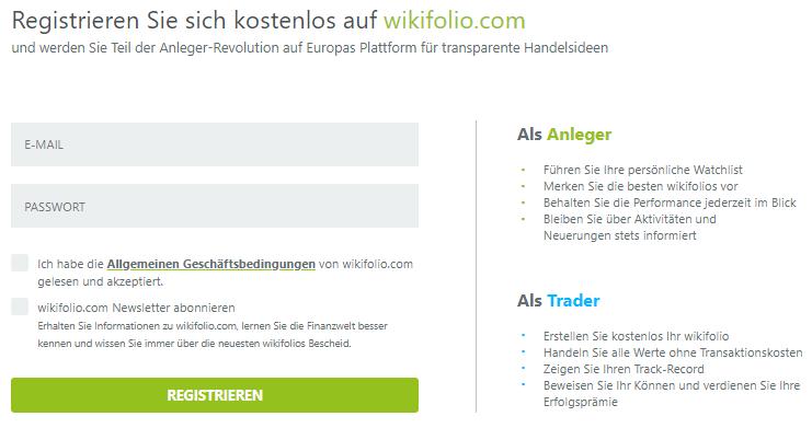 Wikifolio Registrierung