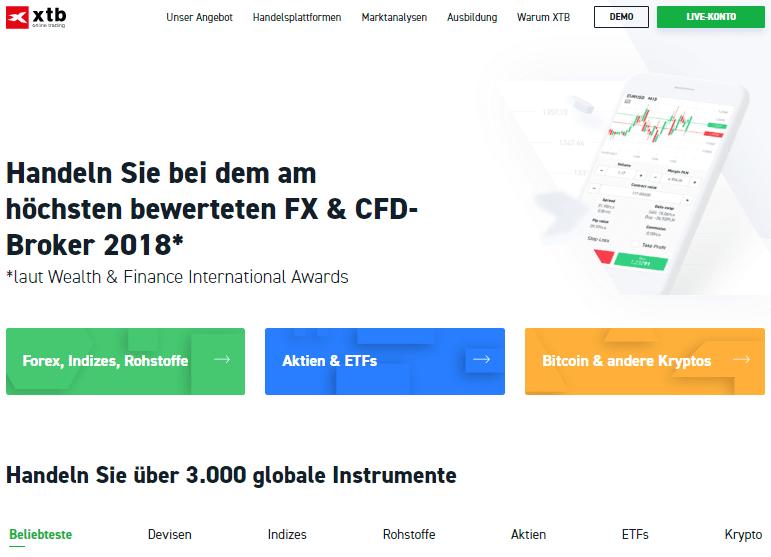 Webseite von XTB